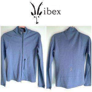 Ibex Merino Wool Full Zip Sweater in Cornflower Blue